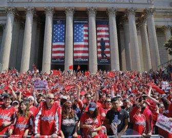 crowd wearing red t-shirts in Washington, D.C.