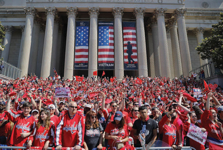 crowd wearing red t-shirts in Washington, D.C.