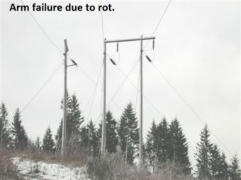 Arm failure due to rot. image of power poles.