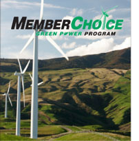 Member Choice Green Power Program logo of windmills on a hillside