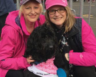 Denisa Bradley, left, with her sister, Deanne, and dog, Oliver.