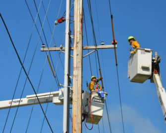 Lineworkers in Lift Buckets