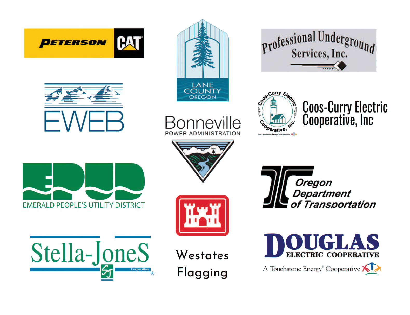 Logos for: Peterson CAT, Lane County Oregon, Professional Underground Services Inc, EWEB, Bonneville Power Administration, Coos-Curry Electric Cooperative Inc, Emerald People's Utility District, Oregon Department of Transportation, Stella-Jones, Westates Flagging, and Douglas Electric Cooperative.