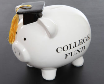 """College Fund"" written on a piggy bank"